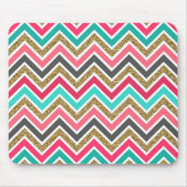 Cute trendy chevron faux glitter zigzag pattern mouse pad