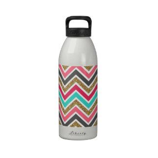 Cute trendy chevron faux glitter zigzag pattern water bottles