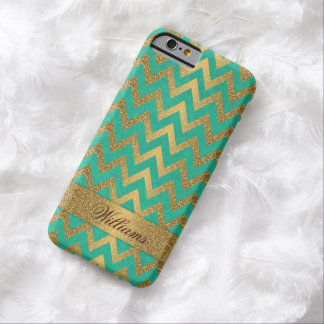 Cute trendy chevron zigzag faux gold glitter barely there iPhone 6 case