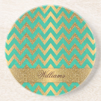 Cute trendy chevron zigzag faux gold glitter beverage coasters