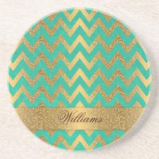 Cute trendy chevron zigzag faux gold glitter coaster