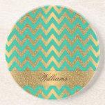 Cute trendy chevron zigzag faux gold glitter drink coasters