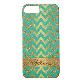 Cute trendy chevron zigzag faux gold glitter iPhone 7 case