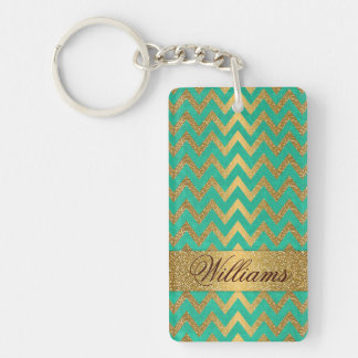 Cute trendy chevron zigzag faux gold glitter Double-Sided rectangular acrylic keychain