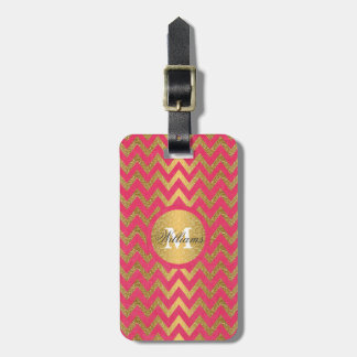 Cute trendy chevron zigzag faux gold glitter luggage tag