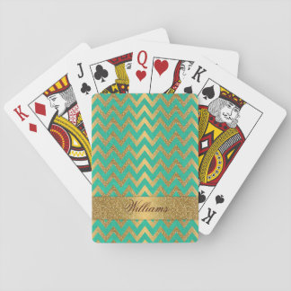 Cute trendy chevron zigzag faux gold glitter playing cards