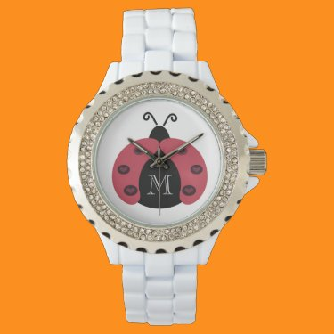 Cute trendy chic elegant girly ladybug monogram wristwatch