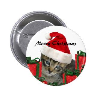 Cute trendy Christmas funny  Santa kitten Pinback Button