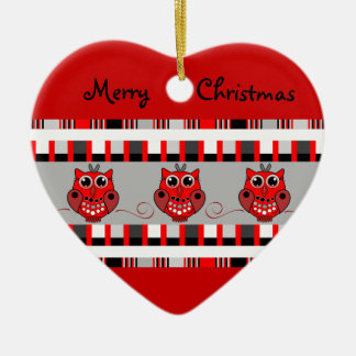 Cute trendy Christmas ornamen with Owls & patterns Ceramic Ornament
