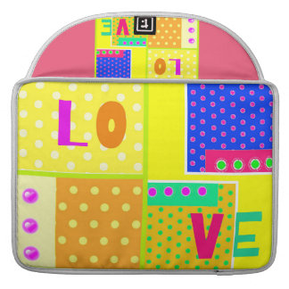 Cute trendy color polka dots love design sleeve for MacBook pro