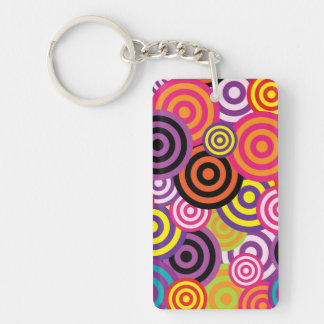 Cute trendy colorful circles pattern abstract acrylic key chains