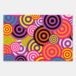 Cute trendy colorful circles pattern abstract yard sign