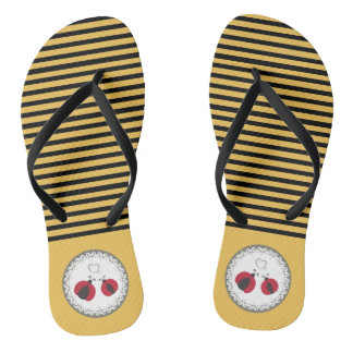 Cute trendy cute stripes ladybugs in love flip flops