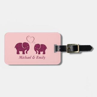 Cute trendy  elephant in love personalized bag tag