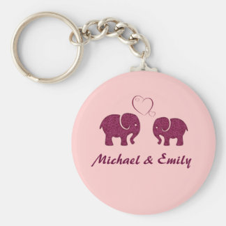 Cute trendy  elephant in love personalized basic round button keychain
