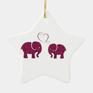 Cute trendy  elephant in love personalized ceramic ornament