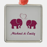Cute trendy  elephant in love personalized square metal christmas ornament