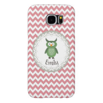 Cute Trendy fancy girly  owl chevron personalized Samsung Galaxy S6 Case