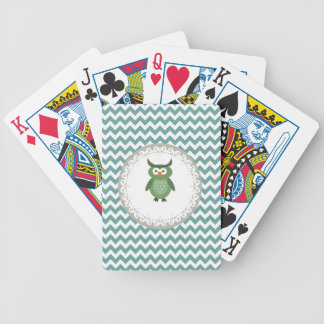 Cute Trendy fancy girly  owl personalized Bicycle Playing Cards