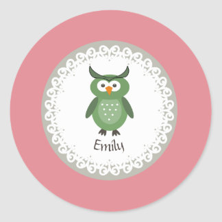 Cute Trendy fancy girly  owl personalized Classic Round Sticker
