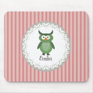 Cute Trendy fancy girly  owl personalized Mouse Pad