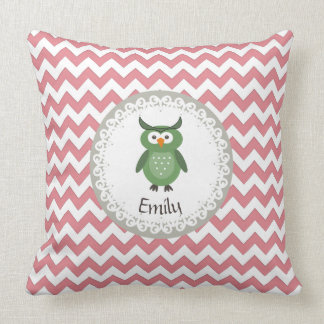 Cute Trendy fancy girly  owl personalized Throw Pillows