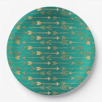 Cute trendy faux gold glitter tribal arrows paper plate