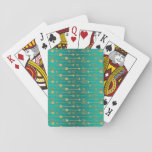 "Cute trendy faux gold glitter tribal arrows playing cards<br><div class=""desc"">Cute trendy faux gold glitter tribal arrows pattern, yellow gold, peacock blue, teal, green bright, vivid colors. Faux glitter effects, sparkles, glow, shining, gold metallic effects, Tribal, ethnic, native, traditional, folk, awesome, cute, modern, art, strength, unique, fashion, whimsical, popular, illustration, abstract, blend, dreamy, design, pretty, spiritual, artistic, d&#233;cor, trend, style,...</div>"