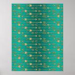 Cute trendy faux gold glitter tribal arrows poster