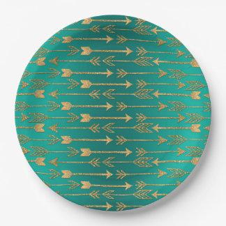 Cute trendy faux gold glitter tribal arrows 9 inch paper plate