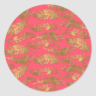 Cute trendy faux gold glitter tribal feathers classic round sticker