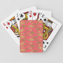 Cute trendy faux gold glitter tribal feathers playing cards