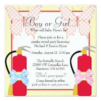 Cute Trendy Fire Fighter & Butterfly Gender Reveal Card
