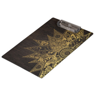 Cute trendy flower henna hand drawn design clipboards