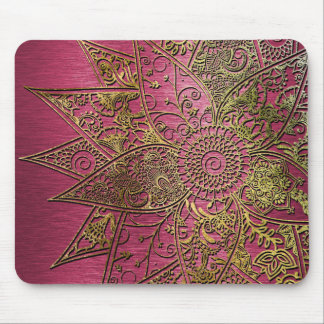 Cute trendy flower henna hand drawn design mouse pad