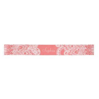 Cute trendy flower henna hand drawn design satin ribbon