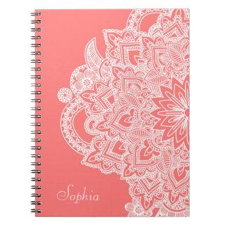 Cute trendy flower henna hand drawn design spiral notebook