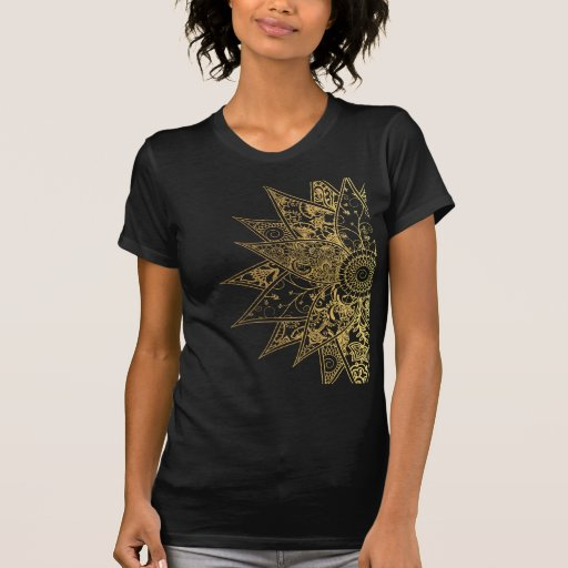 Cute trendy flower henna hand drawn design tshirt