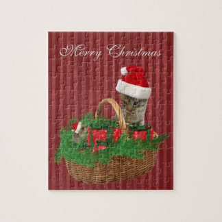 Cute trendy funny Christmas Santa kitten and mouse Jigsaw Puzzles
