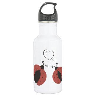Cute trendy gingham ladybugs in love water bottle