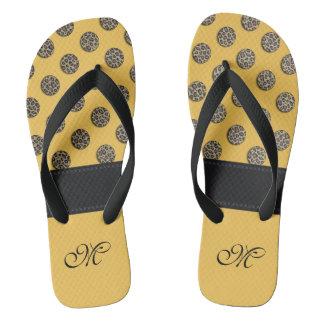 Cute trendy girl leopard polka dots monogram flip flops