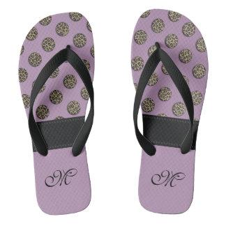 Cute trendy girl leopard polka dots monogram lilac flip flops
