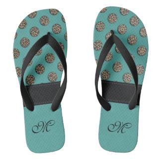 Cute trendy girl leopard polka dots monogram mint flip flops