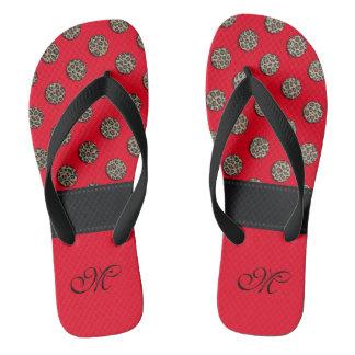 Cute trendy girl leopard polka dots monogram red flip flops