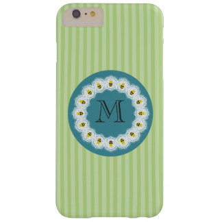 Cute trendy girly cartoon bees monogram barely there iPhone 6 plus case