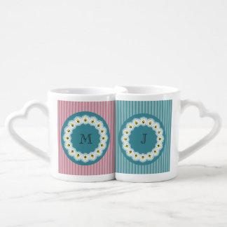 Cute trendy girly cartoon bees monogram couples coffee mug