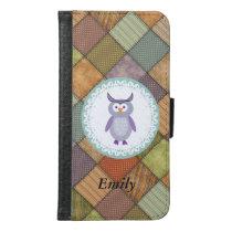 Cute trendy girly cartoon owl patchwork monogram samsung galaxy s6 wallet case