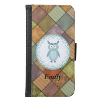 Cute trendy girly cartoon owl patchwork monogram samsung galaxy s6 wallet case