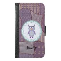 Cute trendy girly cartoon owl patchwork monogram wallet phone case for samsung galaxy s6