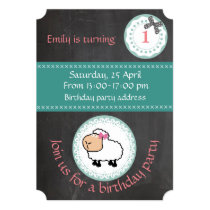 Cute trendy girly chalkboard sheep birthday invitation